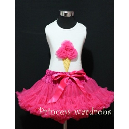 Hot Pink Pettiskirt With Hot Pink Ice Cream White Tank Top MS112