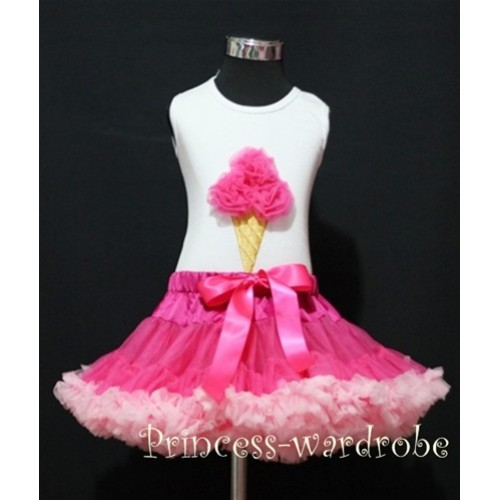 Hot Light Pink Pettiskirt With Hot Pink Ice Cream White Tank Top MS113