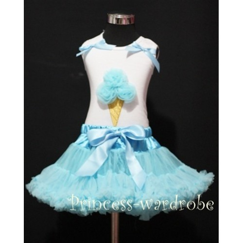Light Blue Pettiskirt With Light Blue Ice Cream White Tank Top with Bows MS206