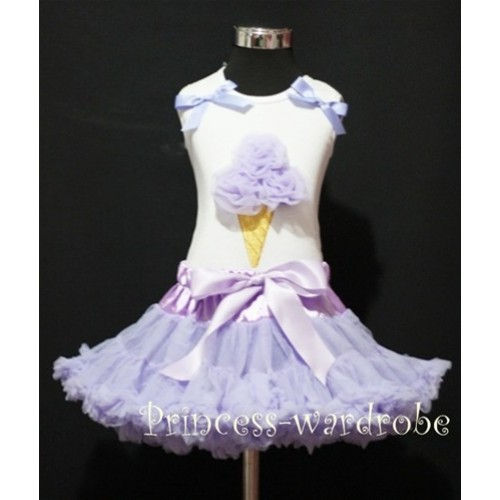 Lavender Pettiskirt With Lavender Ice Cream White Tank Top with Bows MS209