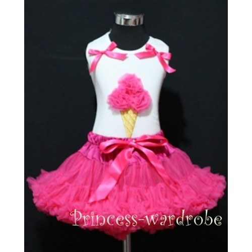 Hot Pink Pettiskirt With Hot Pink Ice Cream White Tank Top with Bows MS212