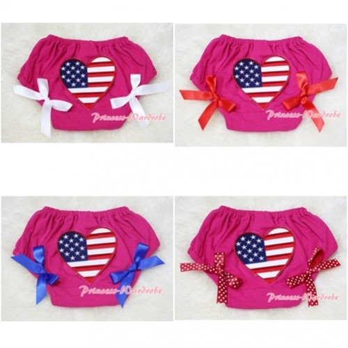 Hot Pink Bloomers & Patriotic America Flag Heart & Various Bow BL43