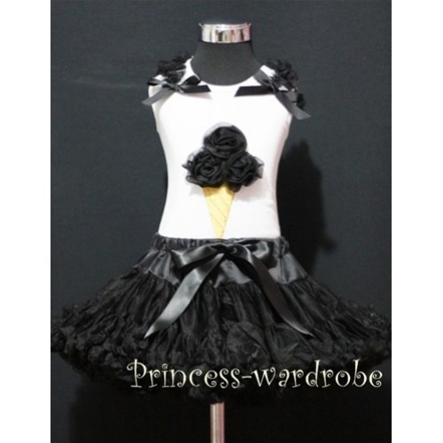 Black Pettiskirt With Black Ice Cream White Tank Top with Black Ruffles &Bow MS311