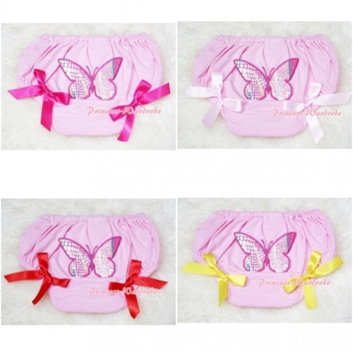 Light Pink Bloomers & Rainbow Butterfly & Bow BL48