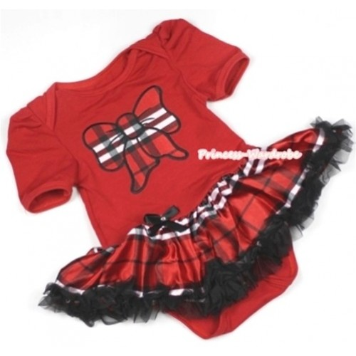 Red Baby Jumpsuit Red Black Checked Pettiskirt with Red Black Checked Butterfly Print JS661