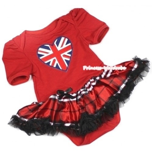 Red Baby Jumpsuit Red Black Checked Pettiskirt with Patriotic British Heart Print JS670
