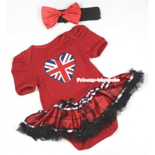 Red Baby Jumpsuit Red Black Checked Pettiskirt With Patriotic British Heart Print With Black Headband Red Satin Bow JS693