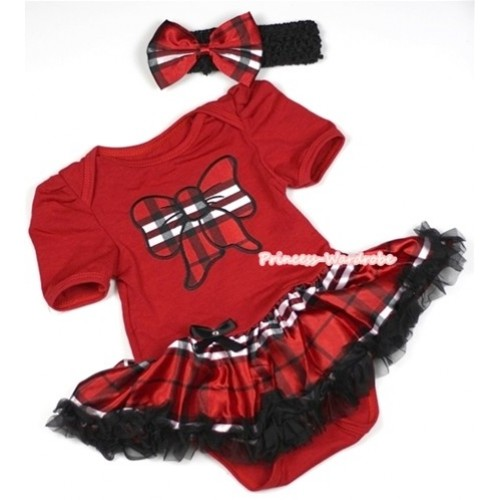 Red Baby Jumpsuit Red Black Checked Pettiskirt With Red Black Checked Butterfly Print With Black Headband Red Black Checked Satin Bow JS702