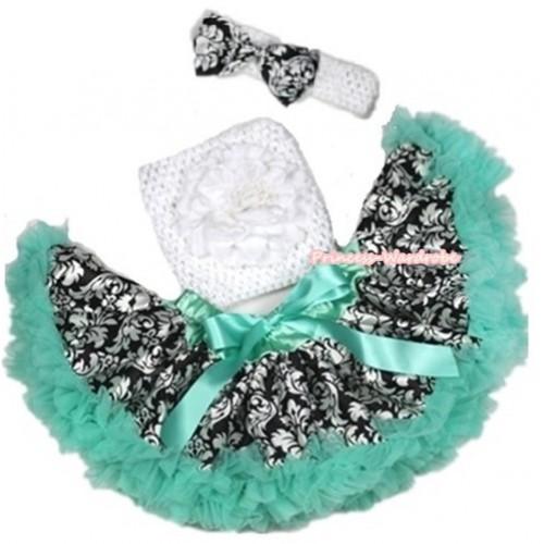 Aqua Blue Damask Baby Pettiskirt, White Peony & White Crochet Tube Top,White Headband with Damask Satin Bow 3PC Set CT564