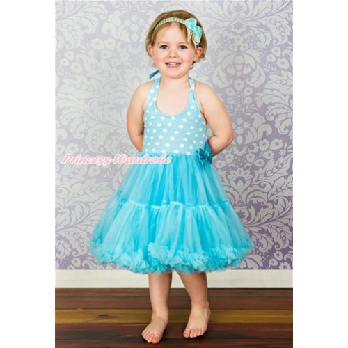 Light Blue White Polka Dots ONE-PIECE Petti Dress with Bow LP07