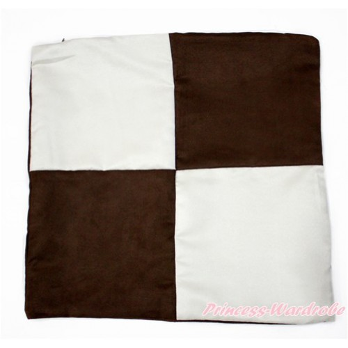 Brown White Checked Home Sofa Cushion Cover HG098