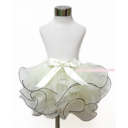 Cream White Flower Petal Full Pettiskirt With Cream White Bow B261