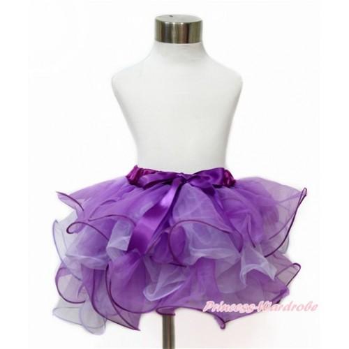 Dark Purple Lavender Flower Petal Full Pettiskirt With Dark Purple Bow B262