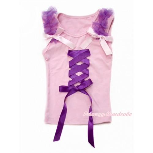 Tangled Princess Light Pink Tank Top With Dark Purple Ruffles & Light Pink Bow With Dark Purple Ribbon Bow TP89