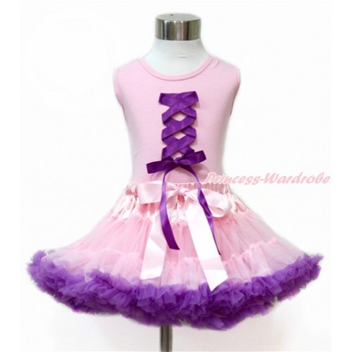 Tangled Princess Light Pink Tank Top With Dark Purple Ribbon Bow With Light Pink Dark Purple Pettiskirt M587