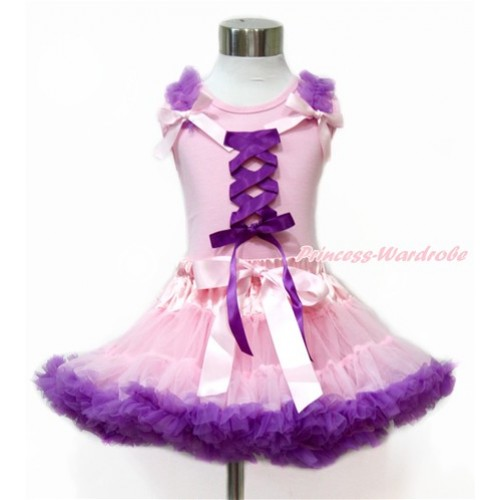 Tangled Princess Light Pink Tank Top with Dark Purple Ruffles & Light Pink Bow with Dark Purple Ribbon Bow With Light Pink Dark Purple Pettiskirt M588