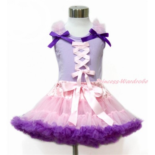 Tangled Princess Lavender Tank Top with Light Pink Ruffles & Dark Purple Bow with Light Pink Ribbon Bow With Light Pink Dark Purple Pettiskirt MN85