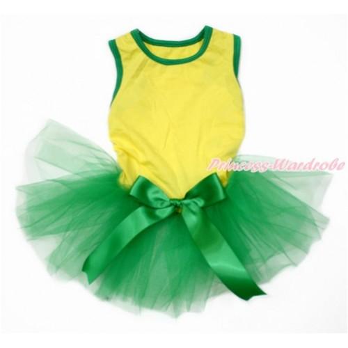 World Cup Brazil Yellow Sleeveless Kelly Green Gauze Skirt With Kelly Green Bow Pet Dress DC168