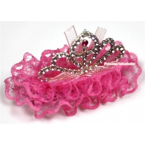 Hot Pink Lace Ruffles Rinestone Crown Hair Clip H666
