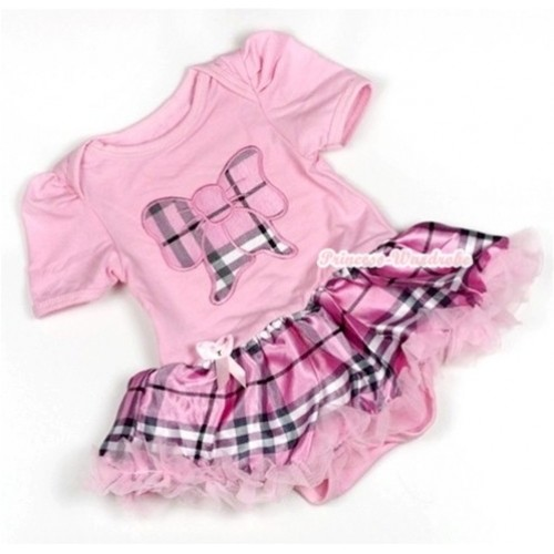 Light Pink Baby Jumpsuit Light Pink Checked Pettiskirt with Light Pink Checked Butterfly Print JS730
