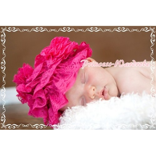 Hot Pink Lace Layer Hat with Lovely Flower HA45