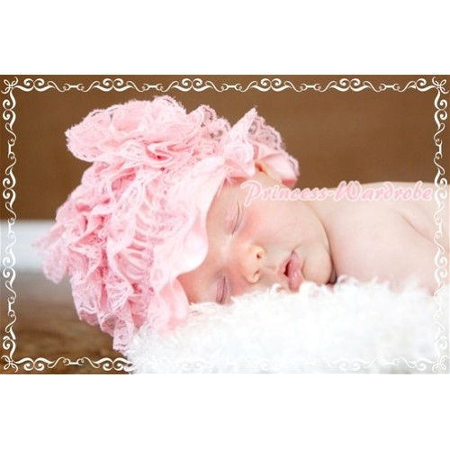 Light Pink Lace Layer Hat with Lovely Flower HA46