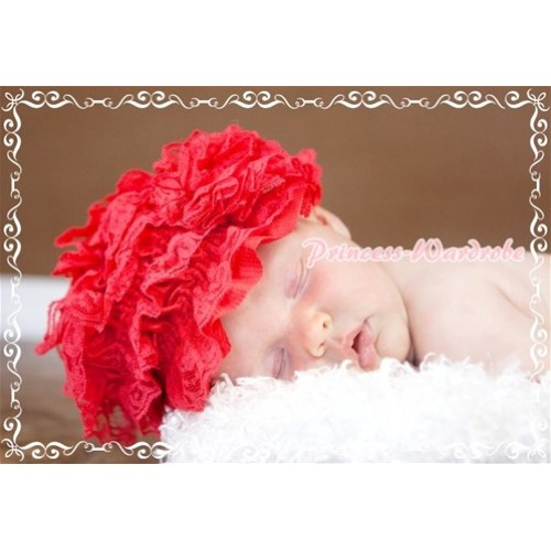 Hot Red Lace Layer Hat with Lovely Flower HA47