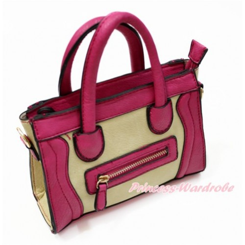 Hot Pink Leather Zipper Cute Handbag Petti Bag Purse CB162