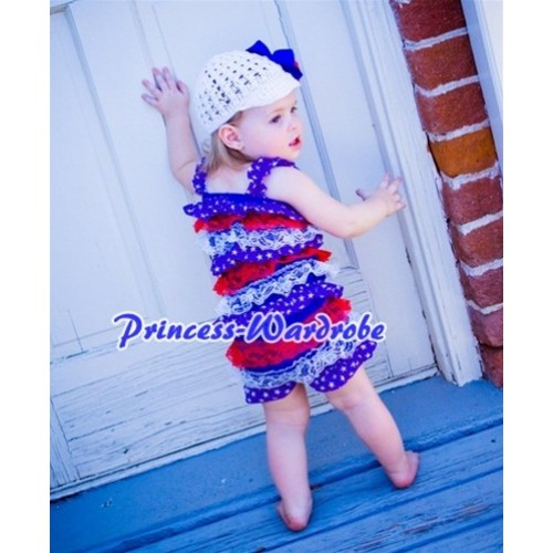 Patriotic America Red White Blue Layer Chiffon Romper with Royal Blue Bow & Straps LR69