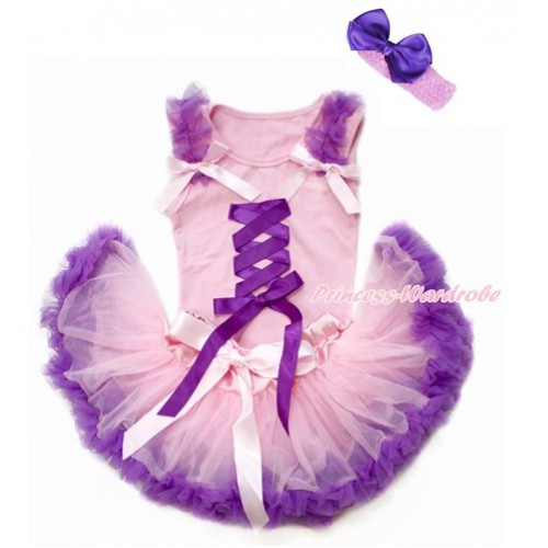 Tangled Princess Light Pink Baby Pettitop with Dark Purple Ruffles & Light Pink Bows with Dark Purple Ribbon Bow & Light Pink Dark Purple Newborn Pettiskirt With Light Pink Headband Dark Purple Silk Bow BG154