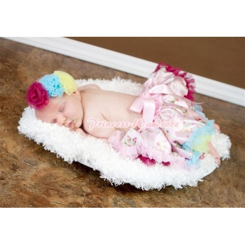 Light Pink Rainbow Floral Fusion Baby Pettiskirt N70