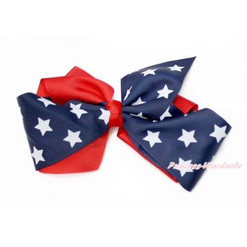 4th July Patriotic Day Red Patriotic American Star Screwed Ribbon Bow Hair Clip H845