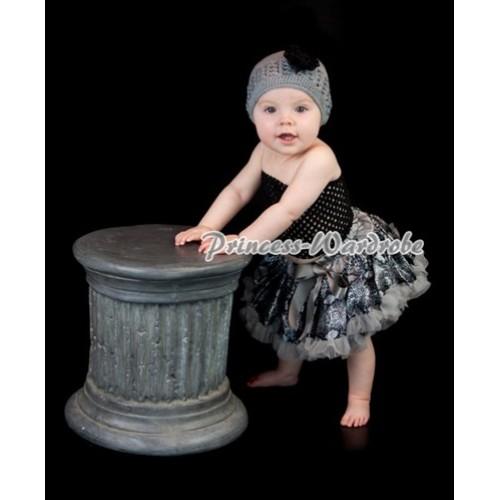 Black Crochet Tube Top with Grey Snake Print Baby Pettiskirt CT88