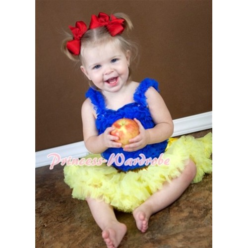(Snow White Style)Royal Blue Baby Ruffles Tank Top with Yellow Baby Pettiskirt NR01