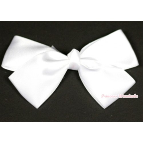White Silk Bow Hair Clip H690