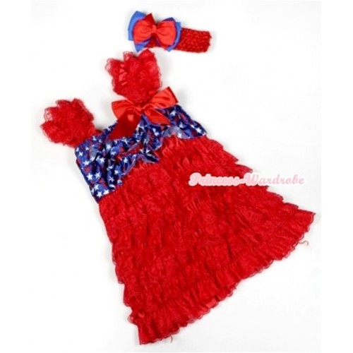 Hot Red Patriotic American Stars Lace Ruffles Layer One Piece Dress With Cap Sleeve With Red Bow With Red Headband Red Royal Blue Ribbon Bow RD007