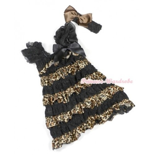 Black Leopard Lace Ruffles Layer One Piece Dress With Cap Sleeve With Black Bow With Black Headband Brown Silk Bow RD009