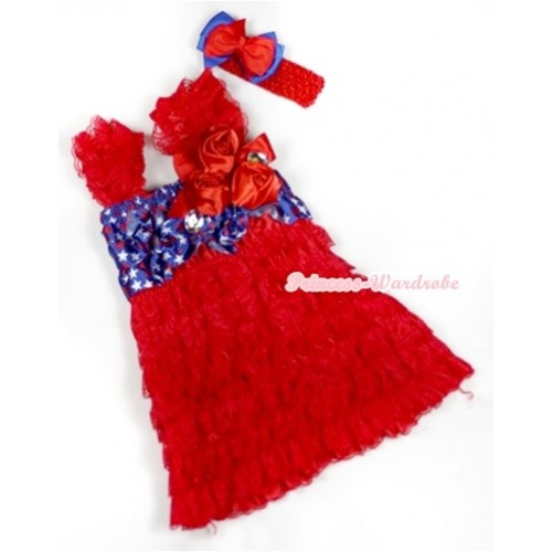 Hot Red Patriotic American Stars Lace Ruffles Layer One Piece Dress With Cap Sleeve With Red Bow & Bunch Of Red Satin Rosettes & Crystal With Red Headband Red Royal Blue Ribbon Bow RD011
