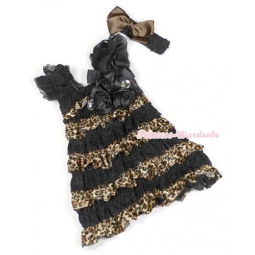 Black Leopard Lace Ruffles Layer One Piece Dress With Cap Sleeve With Black Bow & Bunch Of Black Satin Rosettes & Crystal With Black Headband Brown Silk Bow RD012