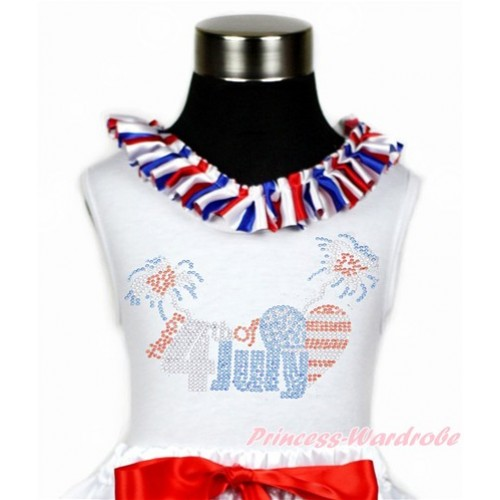 4th July White Tank Tops with Red White Royal Blue Striped Satin Lacing with Sparkle Crystal Bling Rhinestone 4th July Patriotic American Heart Print TB792