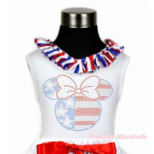 4th July White Tank Tops with Red White Royal Blue Striped Satin Lacing with Sparkle Crystal Bling Rhinestone 4th July Minnie Print TB793