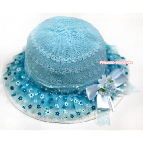 Light Blue Floral Pattern With Cute Bow Summer Beach Straw Hat H692
