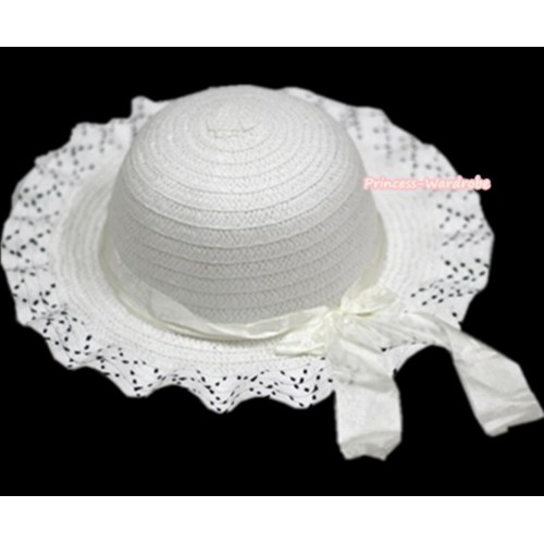 Pure White Black Polka Dots With Cute Bow Summer Beach Straw Hat H694