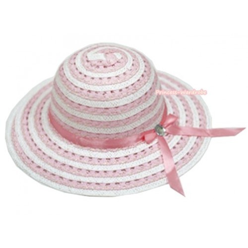 Light Pink White Striped With Light Pink Crytsal Bow Summer Beach Straw Hat H695