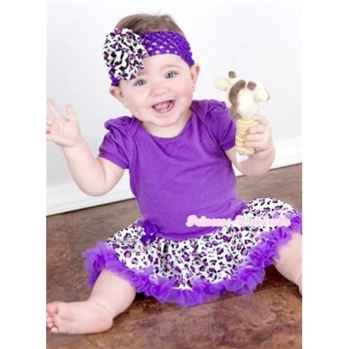 Dark Purple Baby Jumpsuit Dark Purple Leopard Pettiskirt With Dark Purple Headband Dark Purple Leopard Rose JS880