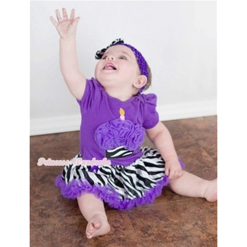 Dark Purple Baby Jumpsuit Dark Purple Zebra Pettiskirt With Dark Purple Zebra Birthday Cake Print With Dark Purple Headband Zebra Satin Bow JS579