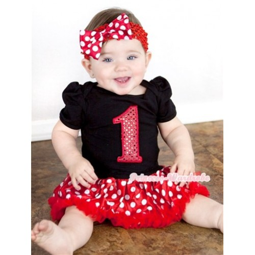 Black Baby Jumpsuit Minnie Dots Pettiskirt With 1st Sparkle Red Birthday Number Print With Red Headband Minnie Dots Satin Bow JS877