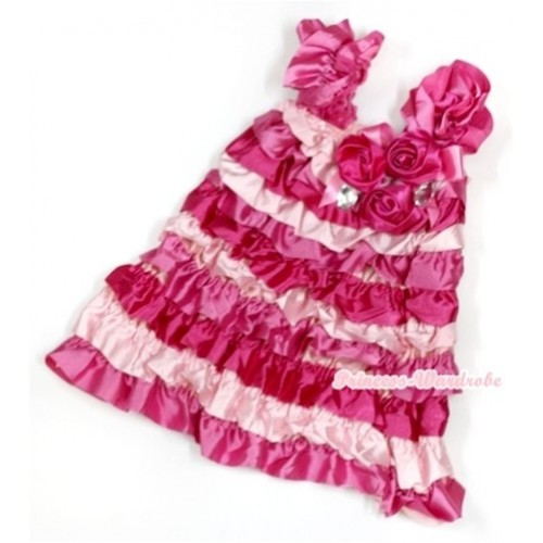 Hot Light Pink Satin Ruffles Layer One Piece Dress With Cap Sleeve With Hot Pink Bow & Bunch Of Hot Pink Satin Rosettes & Crystal RD016