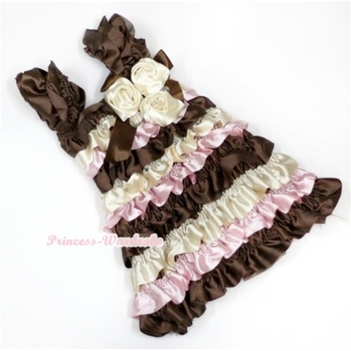Brown Cream White Light Pink Satin Ruffles Layer One Piece Dress With Cap Sleeve With Brown Bow & Bunch Of Cream White Satin Rosettes & Crystal RD017