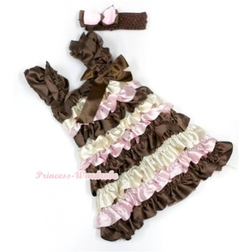 Brown Cream White Light Pink Satin Ruffles Layer One Piece Dress With Cap Sleeve With Brown Bow With Brown Headband Light Pink Brown Ribbon Bow RD020